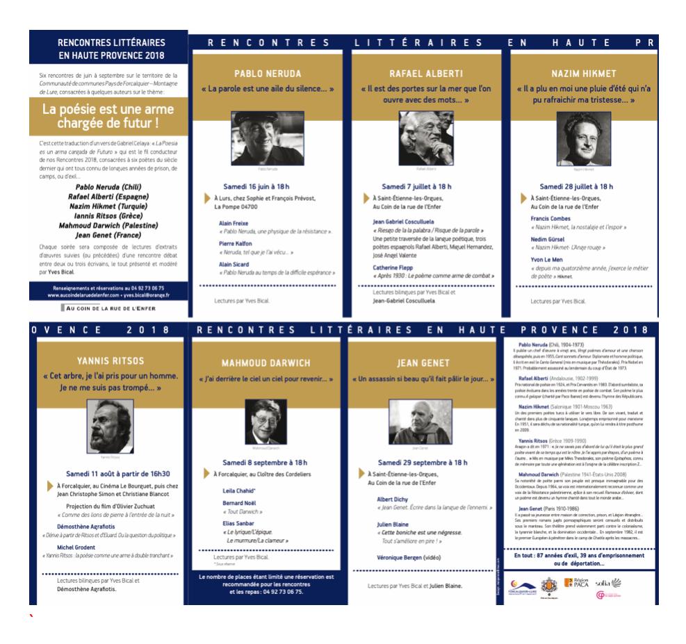 VIIIèmesRencontres littéraires en Haute Provence 2018